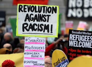 (File photo) Campaigners from Stand Up to Racism protest through Trafalgar Square in London in March.