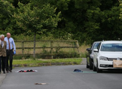 Forensic officers and gardaí at the scene of yesterday's shooting.