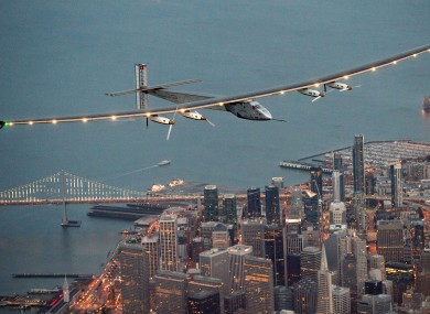 The Solar Impulse 2 flying over San Francisco on Saturday.