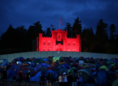 Strathallan Castle overlooks the campsite at the T in the Park music festival in Perthshire, Scotland