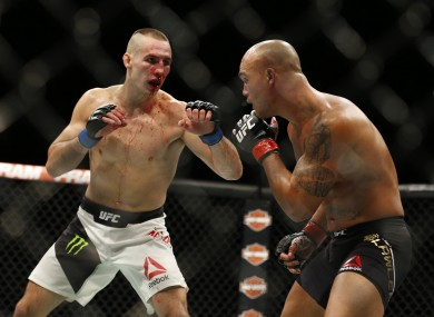 Rory MacDonald (left) pictured during his welterweight title bout against Robbie Lawler at UFC 189 last July.