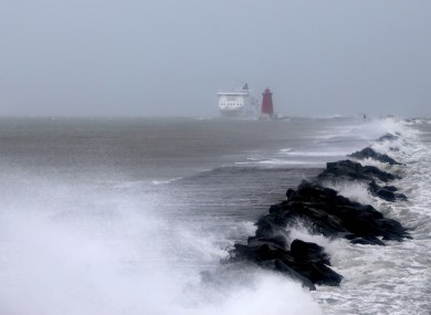 High waves hit the Poolbeg South Wall in Dublin.