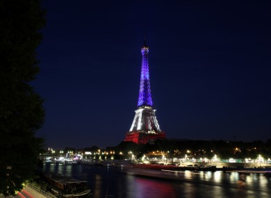 Eiffel Tower lit up after the Nice attacks in July
