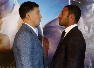 Gennady Golovkin facing up to Kell Brook today at a press conference at the Dorchester Hotel, London.