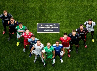 Captain's of the Pro12 teams at this morning's season launch in Dublin.