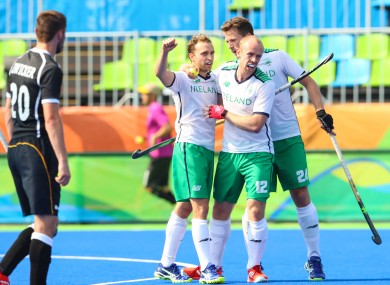 Ireland celebrate Magee's goal.