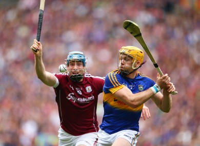 Tipperary's Padraic Maher up against Galway's Conor Cooney.