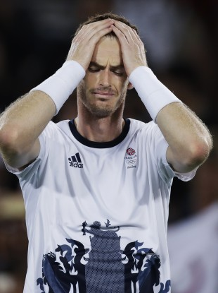 Andy Murray, of Britain, reacts after defeating Juan Martin del Potro, of Argentina, to win the men's singles gold medal at the 2016 Summer Olympics in Rio de Janeiro.