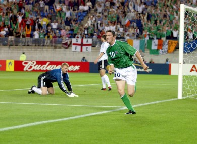 Keane celebrates his famous equaliser against Germany at the 2002 World Cup.