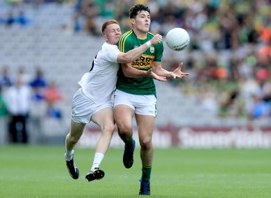 Kerry's MIchael Breen with Kildare's Tony Archbold