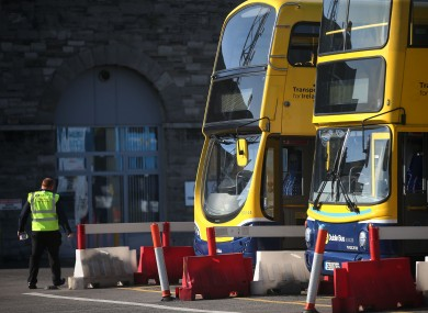 Buses sit idle at the Broadstone Bus depot in Dublin earlier this month.