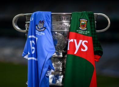 The prize on offer for the Dublin and Mayo footballers today.