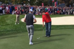 Europe's golfers challenged a heckler to make the putt he slagged them for missing