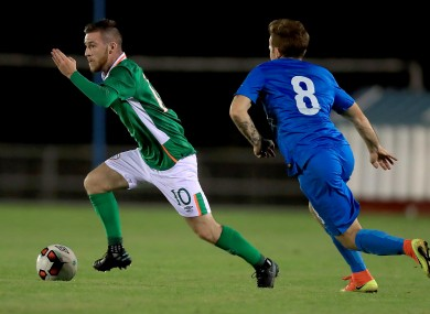 Jack Byrne in action for the U21s against Slovenia.