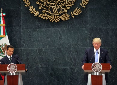 Donald Trump, right, and Mexico's President Enrique Pena Nieto.