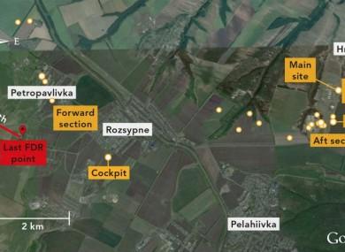 The last location of Flight MH17, taken from the flight data recorder (FDR).