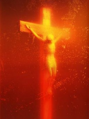 The photograph was captured after the artist placed the crucifix in what he said was a cup of his own urine.