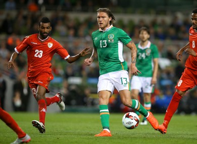 Hendrick playing against Oman at the Aviva Stadium on Wednesday night.