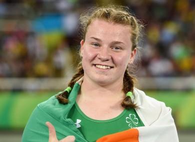 Teenage dreams: Noelle Lenihan celebrates her medal.