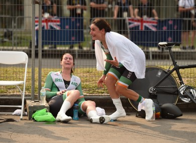 Eve McCrystal and Katie-George Dunlevy react to winning gold.
