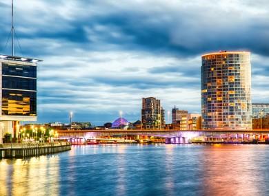 Belfast at dusk.