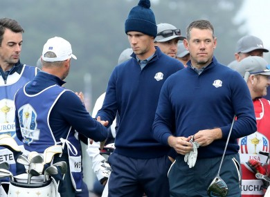 Thomas Pieters and Lee Westwood on day one of the Ryder Cup.