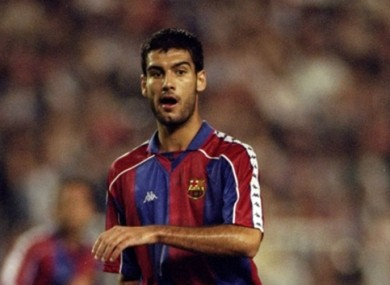Pep Guardiola pictured in his playing days.