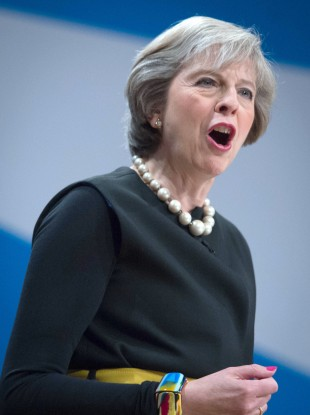 British prime minister Theresa May addresses the Conservative Party conference.