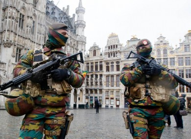 Belgian police officers patrol the Grand Place in central Brussels, Belgium, in November 2015. The country was on high alert after the Paris attack.
