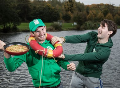 Gary and Paul launch Bord Bia Quality Assured Eggs at the UCD Rowing Club in Islandbridge yesterday.