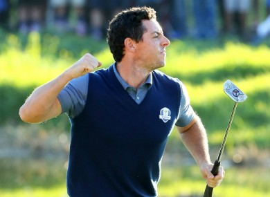 Rory McIlroy celebrates an eagle putt at the Ryder Cup.
