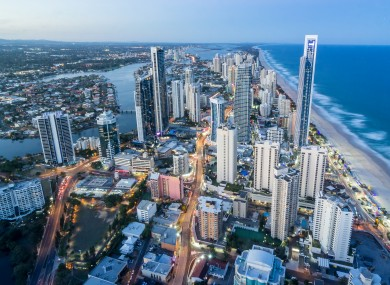 Aerial view of Surfers Paradise City on the Gold Coast.