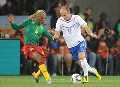 Song with Arjen Robben of the Netherlands at the 2010 World Cup.
