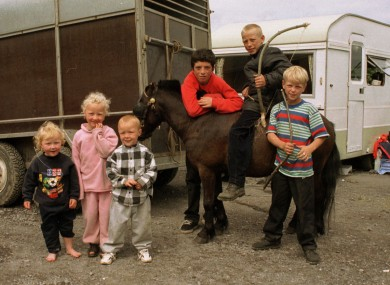 Traveller children pictured at a site in Cabinteely in Dublin in 1997.