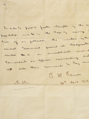 Padraig Pearse's final surrender letter