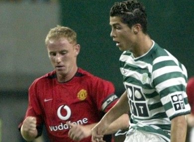 Ronaldo announced himself on the European football scene with a stunning display for Sporting against Man United.
