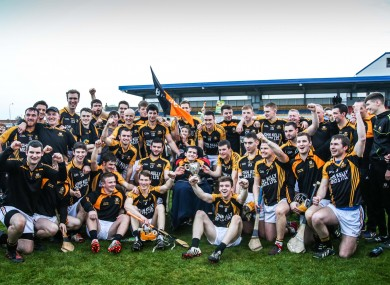 Ballyea players celebrating their Clare senior final victory last Sunday