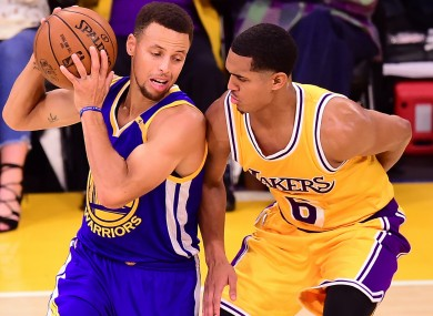 Warriors' Stephen Curry and Lakers' Jordan Clarkson.