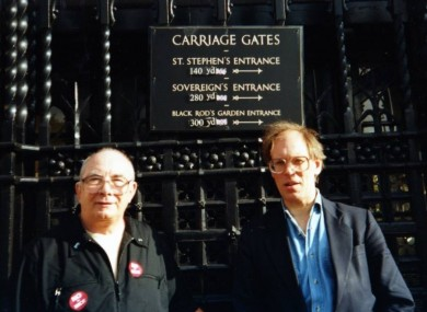 Chairman Derek Norman and Secretary Tony Bennett pictured at the gates of the House of Commons having changed distance signs from metres to yards.