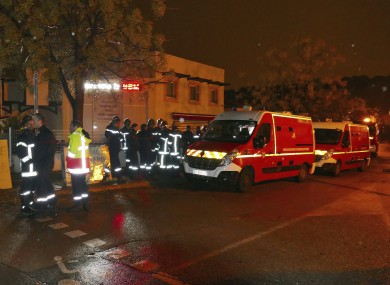 Firefighters and ambulances are seen in the village of Montferrier-sur-Lez