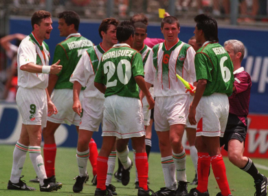Ireland and Mexico players pictured during the 1994 World Cup game.