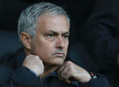 Manchester United manager Jose Mourinho watched today's game from the stands.