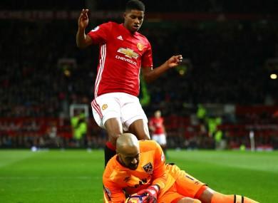West Ham's Darren Randolph denies Marcus Rashford.