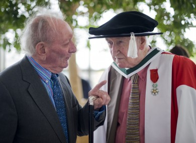 John Montague (right) prior to the Bloomsday conferral ceremony where he was awarded an Honorary Degree of Doctor of Literature at UCD.