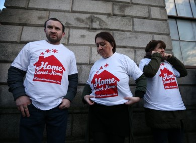 Home Sweet Home supporters outside the Four Courts yesterday