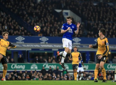 Everton's Seamus Coleman scores his side's first goal of the game.
