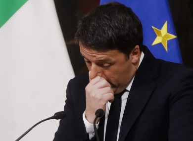 Italian Premier Matteo Renzi speaks during a press conference at the premier's office Chigi Palace in Rome, early today.