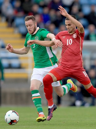 Kevin O'Connor tussling with Mijat Gacinovic during Ireland's 2017 Euro U21 qualifier against Serbia at the Waterford RSC in October.