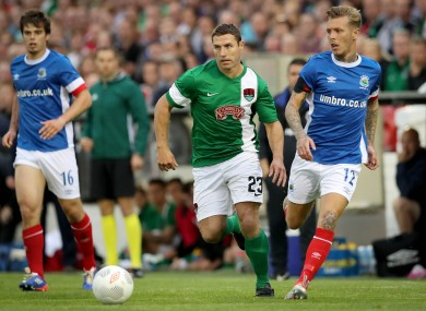 Mark O'Sullivan in possession for Cork City during the second leg of their Europa League tie against Linfield in July.