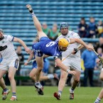 Thurles Sarsfields Padraic Maher takes a tumble against Kiladangan.<span class=
